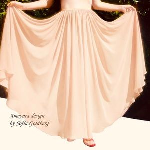 Dresses & Skirts - Beige Chiffon Full Circle Skirt Ameynra design New